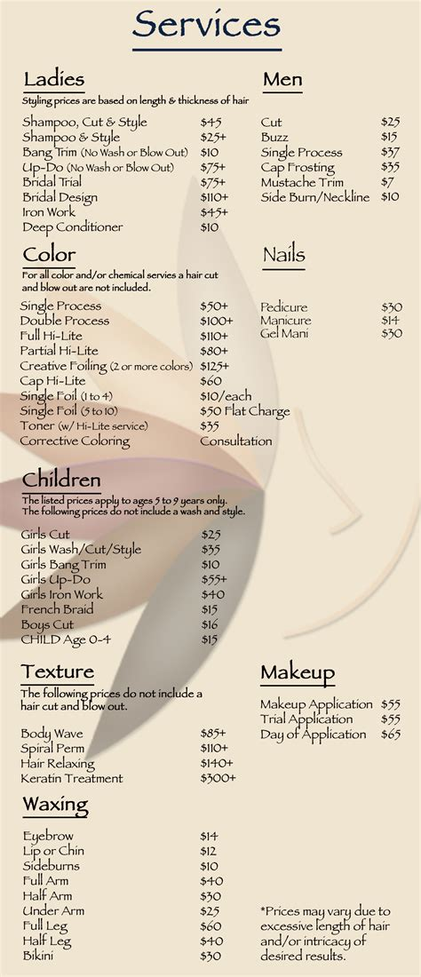 list of hairstyle prices wedding hair stylist prices hairstyles