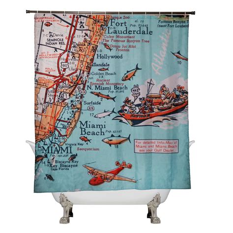 old hollywood shower curtain retro beach map shower curtain fort lauderdale hollywood miami