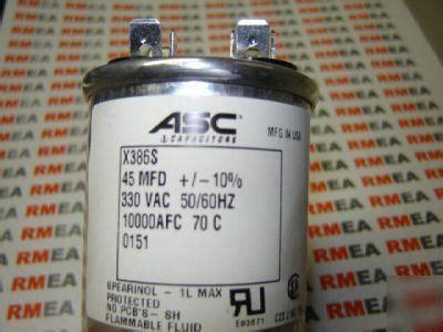 asc capacitors x389s new asc capacitor x386s 45 nfd 330 vac lot of 4