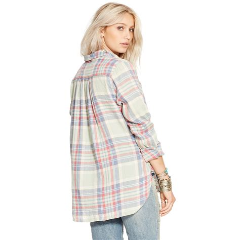 Limited Pink Plaid Shirt denim supply ralph plaid linen cotton shirt in pink lyst