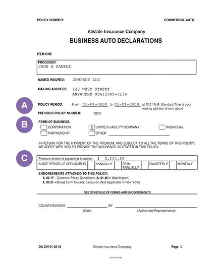 How To Read Business Auto Policy Declarations Allstate Auto Insurance Declaration Page Template