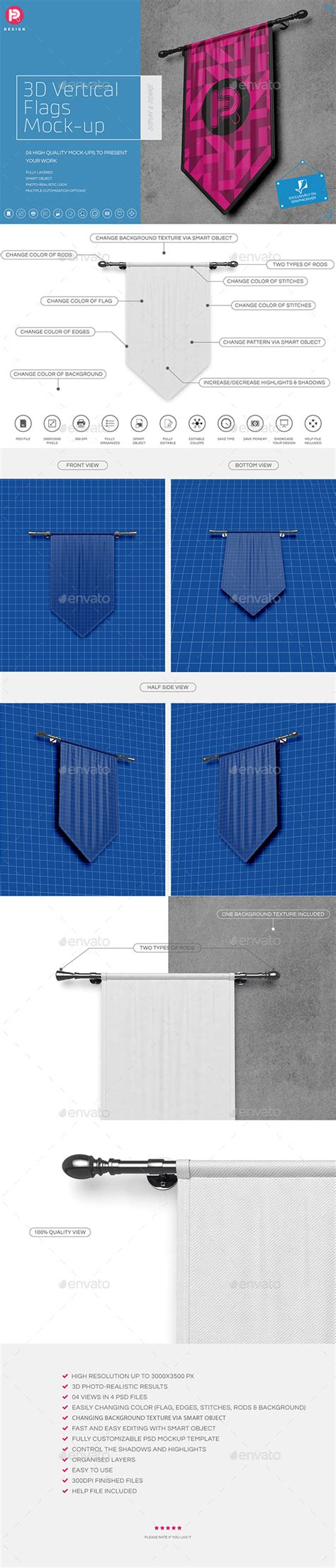 Topi Bat Flag High Quality Product04 3d vertical flags mock up set 1 by trdesignme graphicriver