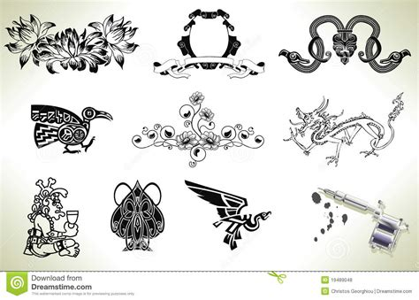 design elements of a tattoo tattoo flash design elements royalty free stock photos