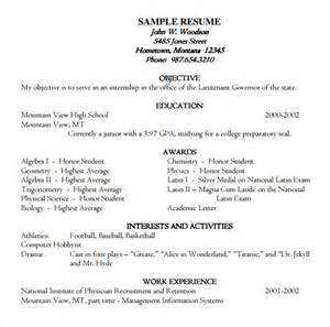 Resume Template Academic by Sle Academic Resume 8 Free Documents In