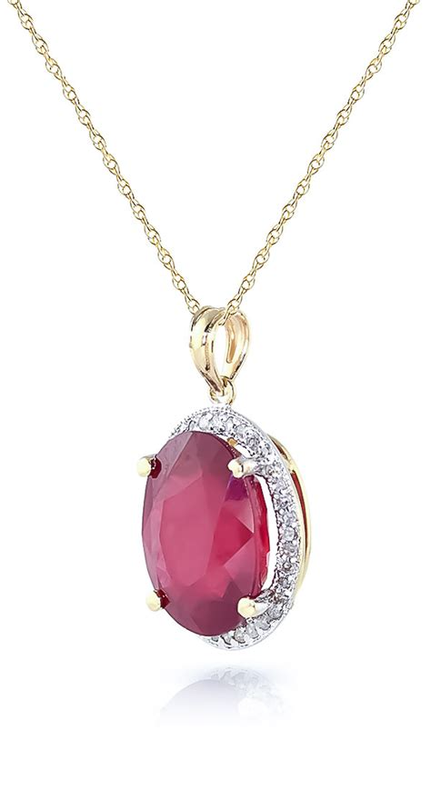 Ruby 7 9ct ruby and halo pendant necklace 7 75ct in 9ct gold