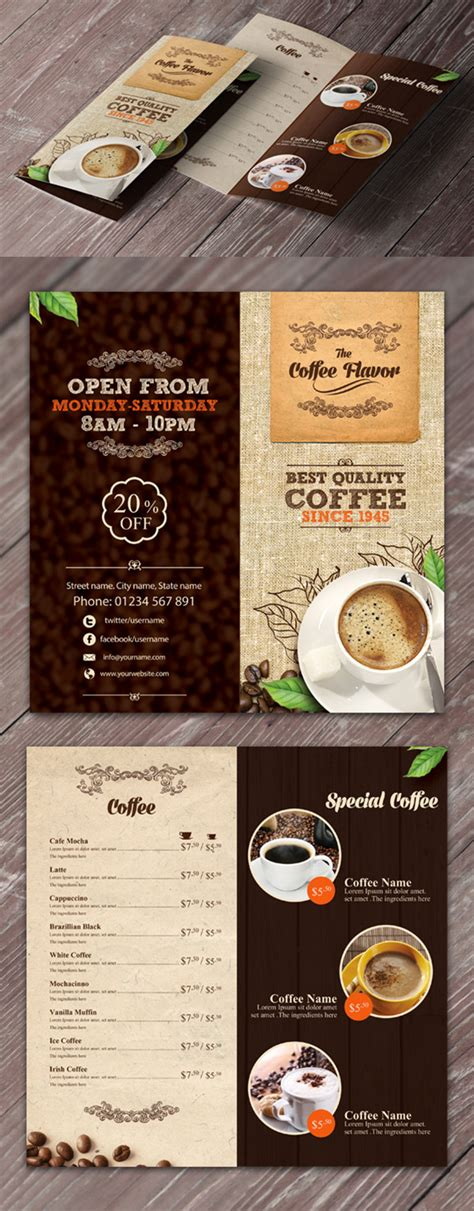 Cafe Brochure Design by 15 Refreshing Coffee Shop Brochure Designs Naldz Graphics