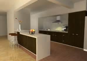 Open space cucina soggiorno con gli stessi colori di arredo e delle