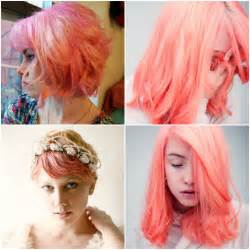 coral hair color pravana pastels in coral pink brown hairs
