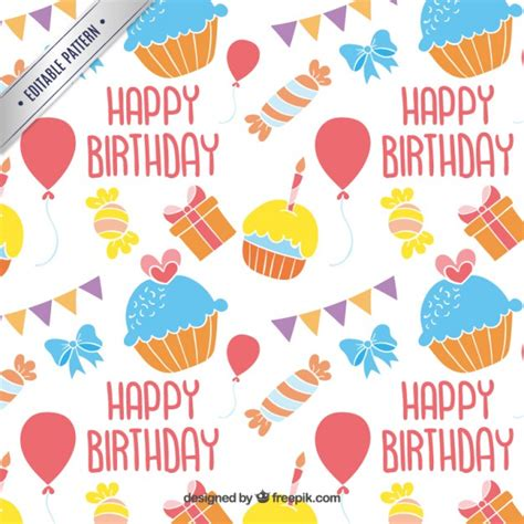 design patterns happy birthday colorful happy birthday pattern vector free download