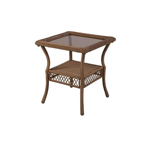 Patio End Tables Hton Bay Brown All Weather Wicker Patio