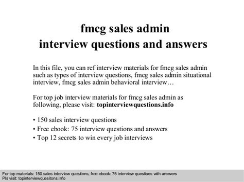 fmcg sales admin questions and answers