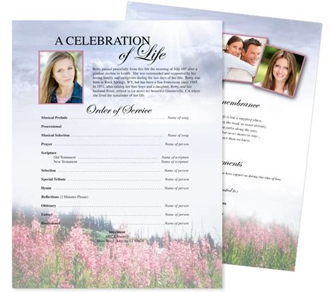 funeral flyer template memorial stationary one page flyer sheets seasons