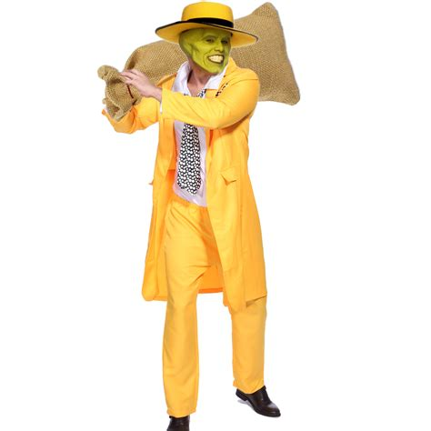 mask overal overal motif wajah 90s mens yellow gangster zoot suit the mask jim