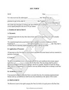 Art Loan Agreement Template iou form template printable legal iou with sample
