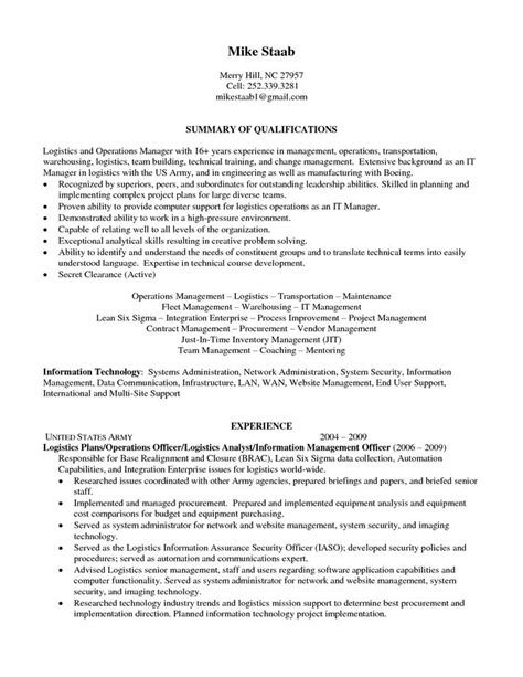 Logistics Manager Resume by Senior Logistic Management Resume Operations Logistics