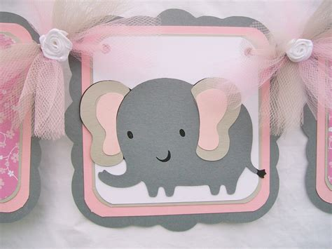 Pink And Gray Elephant Baby Shower Decorations by Elephant Baby Shower Banner Its A Pink Grey White