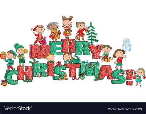 merry christmas kids  letters royalty  vector image