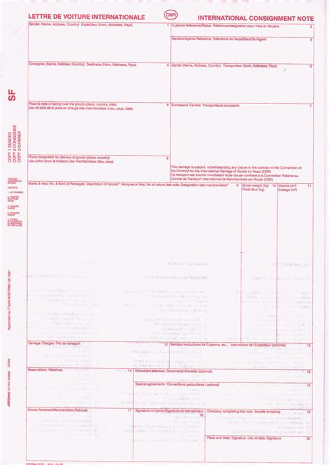 cmr001 sitpro cmr international consignment note tipped