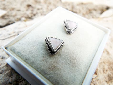 earrings silver studs fildisi triangle gemstone handmade