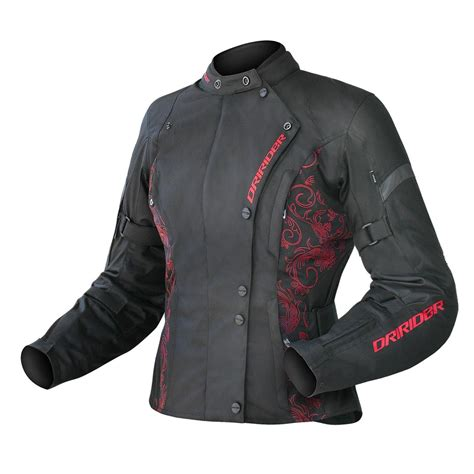 red and black motorcycle jacket dririder vivid ladies textile jacket black red online