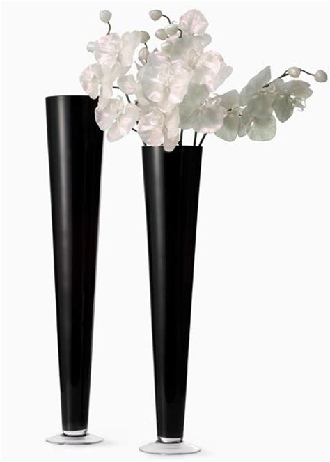 Black Glass For Vases by 24in 28in Black Glass Trumpet Vases Home