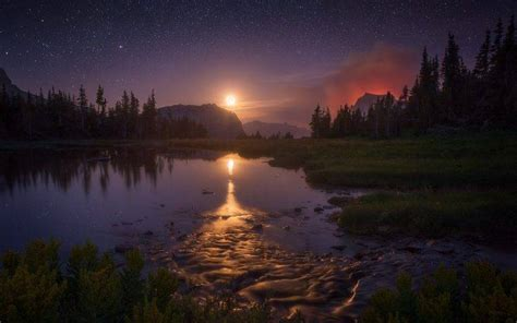 landscape nature starry night moon lake reflection