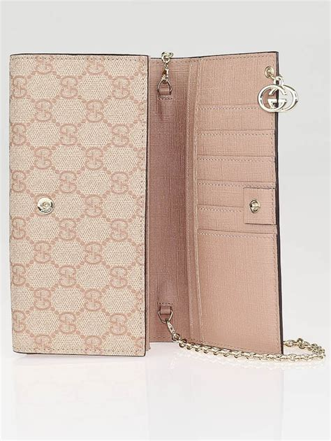 Wallet Gucci Set 2 Canvas 5521 gucci pink beige gg coated canvas wallet chain clutch bag yoogi s closet