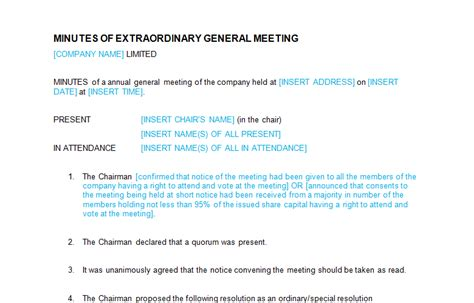 Extraordinary General Meeting Minutes Template board meeting minutes of extraordinary general meeting template bizorb