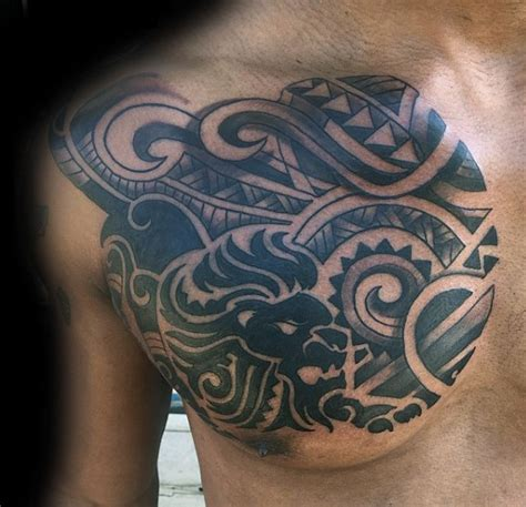 tribal lion chest tattoo 40 tribal designs for mighty feline ink