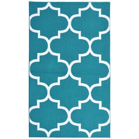 Garland Rug Large Quatrefoil Teal White 5 Ft X 7 Ft Area Teal And White Area Rug