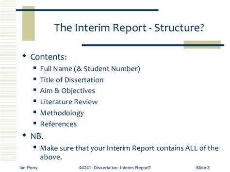 interim report requirements