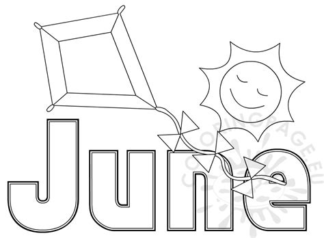 june color summer month june coloring sheet coloring page