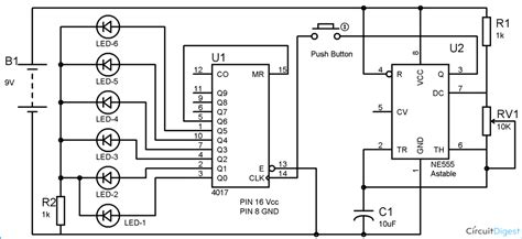 digital dice circuit diagram using ic 555 ic 4017
