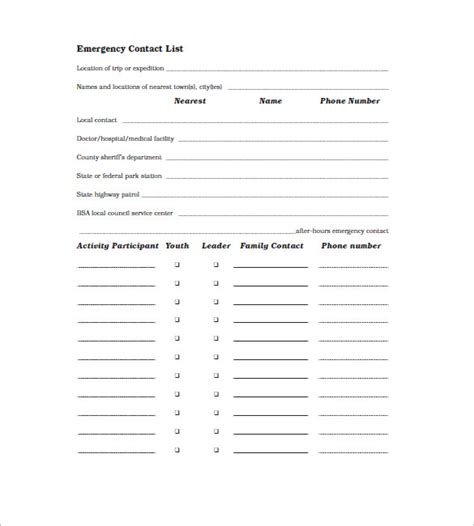 emergency contact list template contact list template 19 free sle exle format