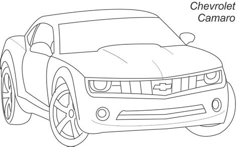 super car chevrolet camaro coloring page for kids