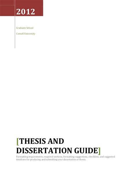 thesis and dissertation thesis and dissertation guide 2013 according to cornell