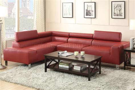 Burgundy Sectional Sofa F7300 Sectional Sofa By Poundex In Burgundy Bonded Leather