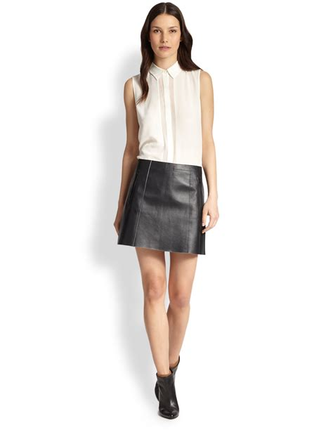 vince leather mini skirt in black lyst