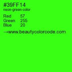 neon green color code neon green 39ff14 hex color code luminous green