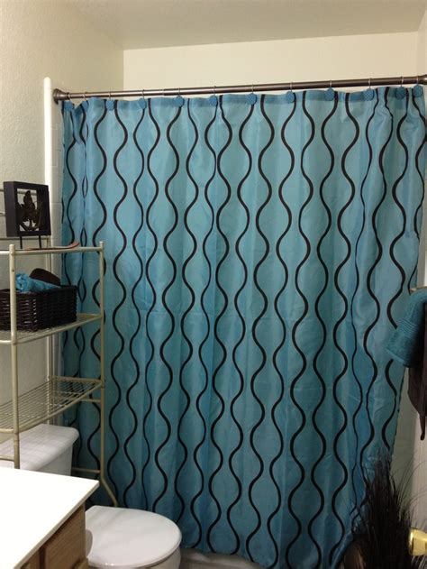 Teal Brown Shower Curtain Small Bathroom Ideas Pinterest Small Bathroom Shower Curtain