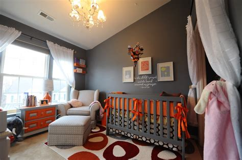 Orange And Grey Room Decor by Orange Grey Baby On Orange Nursery Orange