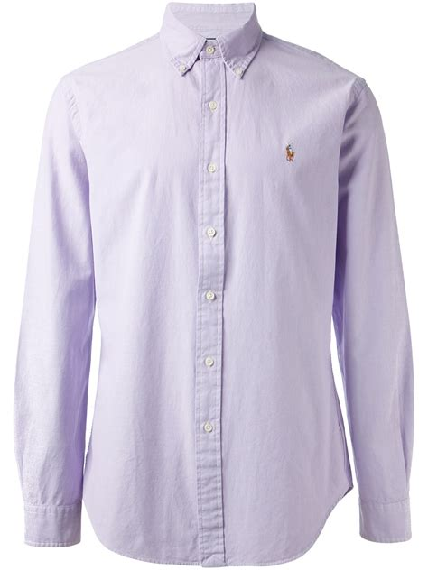 Shirt Button 1 polo ralph button shirt in purple for lyst