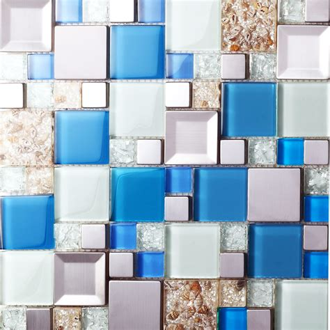 blue glass mosaic tiles crackle glass tile kitchen wall tv