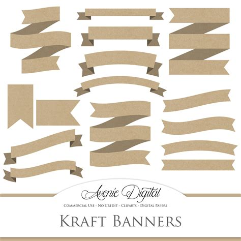 A Paper Banner - kraft ribbon banner clipart scrapbooking printables brown