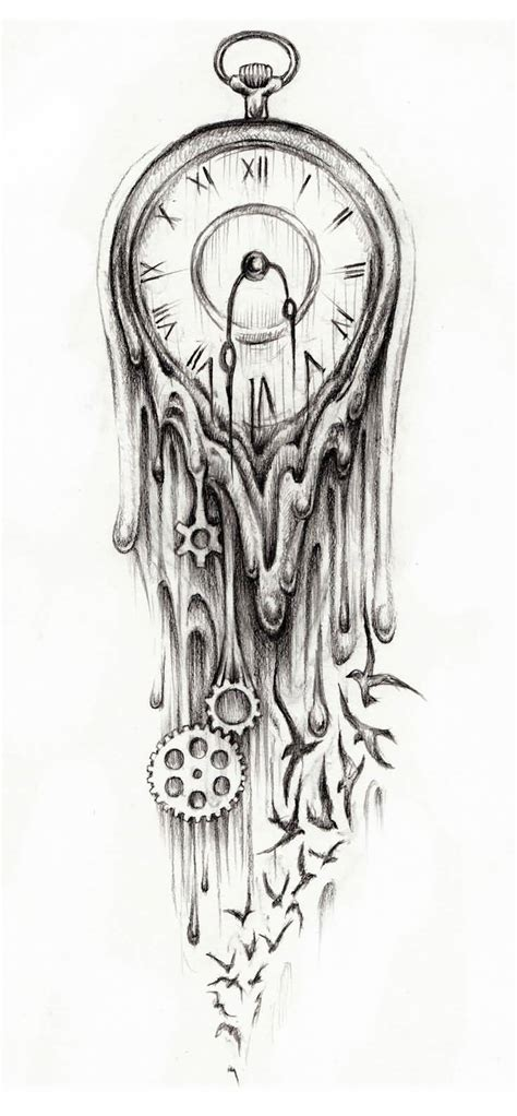 melting clock tattoo designs 23 clock designs