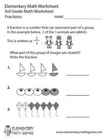 free printable fractions worksheet for third grade