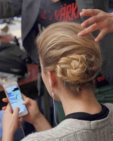 dainty wedding hairstyle ideas spring 2016 double chignon