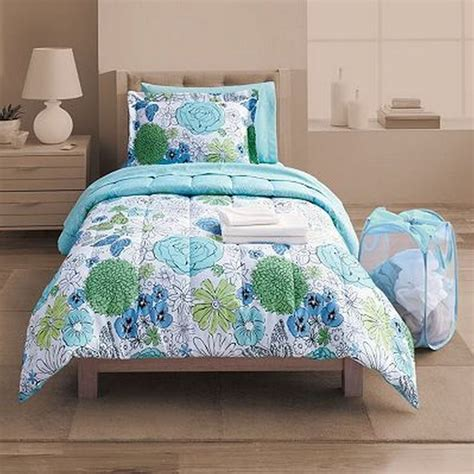 Student Lounge Twin Xl Bed In Bag Blue Floral Comforter Xl Bed In A Bag Sets