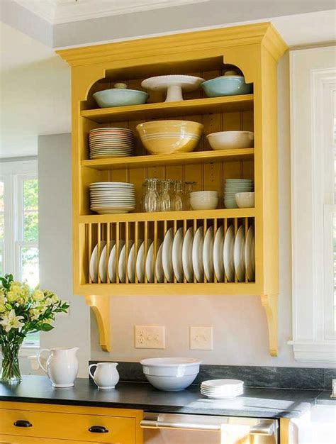 kitchen cabinet plate rack storage wall plate rack wood cream country kitchen plate rack