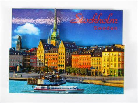 porto di stoccolma stockholm porta 3 d legno souvenir deluxe magnete svezia